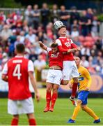 11 July 2019; Gary Shaw of St Patricks Athletic rises above Conor Clifford to head the ball during the UEFA Europa League First Qualifying Round 1st Leg match between St Patrick's Athletic and IFK Norrköping at Richmond Park in Inchicore, Dublin. Photo by Sam Barnes/Sportsfile