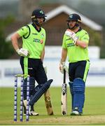 12 June 2019; Andrew Balbirnie and Paul Stirling of Ireland during the 2nd T20 Cricket International match between Ireland and Zimbabwe at Bready Cricket Club in Magheramason, Co. Tyrone. Photo by Oliver McVeigh/Sportsfile