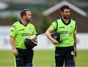 12 June 2019; Paul Stirling and Andrew Balbirnie of Ireland come off after winning the 2nd T20 Cricket International match between Ireland and Zimbabwe at Bready Cricket Club in Magheramason, Co. Tyrone. Photo by Oliver McVeigh/Sportsfile