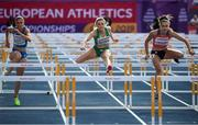 12 July 2019; Sarah Quinn of Ireland competes in the women's 100m hurdles during day two of the European U23 Athletics Championships at the Gunder Hägg Stadium in Gävle, Sweden. Photo by Giancarlo Colombo/Sportsfile