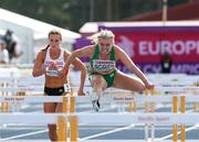 12 July 2019; Molly Scott of Ireland competes in the women's 100m hurdles during day two of the European U23 Athletics Championships at the Gunder Hägg Stadium in Gävle, Sweden. Photo by Giancarlo Colombo/Sportsfile