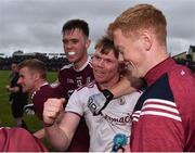 10 July 2019; Oran Burke, centre, and Darragh Silke of Galway, left, celebrate following the EirGrid Connacht GAA Football U20 Championship final match between Galway and Mayo at Tuam, Co. Galway. Photo by Sam Barnes/Sportsfile