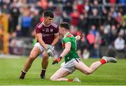 10 July 2019; Michael Culhane of Galway in action against Gavin Durcan of Mayo during the EirGrid Connacht GAA Football U20 Championship final match between Galway and Mayo at Tuam, Co. Galway. Photo by Sam Barnes/Sportsfile