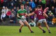 10 July 2019; John Gallagher of Mayo in action against Ross Mahon of Galway during the EirGrid Connacht GAA Football U20 Championship final match between Galway and Mayo at Tuam, Co. Galway. Photo by Sam Barnes/Sportsfile