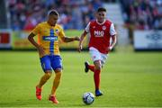 11 July 2019; Jordan Larsson of IFK Norrköping in action against Kevin Toner of St Patricks Athletic during the UEFA Europa League First Qualifying Round 1st Leg match between St Patrick's Athletic and IFK Norrköping at Richmond Park in Inchicore, Dublin.