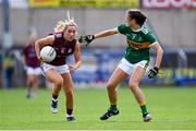 13 July 2019; Megan Glynn of Galway in action against Ciara Murphy of Kerry during the TG4 All-Ireland Ladies Football Senior Championship Group 3 Round 1 match between Galway and Kerry at O'Moore Park in Portlaoise, Laois. Photo by Piaras Ó Mídheach/Sportsfile