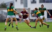 13 July 2019; Megan Glynn of Galway takes on the Kerry defence during the TG4 All-Ireland Ladies Football Senior Championship Group 3 Round 1 match between Galway and Kerry at O'Moore Park in Portlaoise, Laois. Photo by Piaras Ó Mídheach/Sportsfile