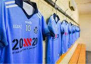 """13 July 2019; A general view of the Dublin jersey of Nicole Owens in the dressing room with the 20x20 campaign logo which has replaced that of sponsor AIG Ireland today to help promote awareness of the """"If She Can't See It, She Can't Be It"""" initiative, designed to shift Ireland's cultural perception of women's sport by increasing media coverage, participation & attendance in women's sport by 20% by the year 2020. TG4 All-Ireland Ladies Football Senior Championship Group 2 Round 1 match between Dublin and Waterford at O'Moore Park in Portlaoise, Laois. Photo by Piaras Ó Mídheach/Sportsfile"""