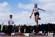 13 July 2019; Katie O'Regan of Riverstick/Kinsale A.C. Co. Cork competing in the Long Jump during day two of the Irish Life Health National Juvenile Outdoor Championships at Tullamore Harriers Stadium in Tullamore, Co. Offaly.   Photo by Eóin Noonan/Sportsfile