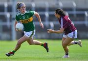 13 July 2019; Emma Dineen of Kerry in action against Charlotte Cooney of Galway during the TG4 All-Ireland Ladies Football Senior Championship Group 3 Round 1 match between Galway and Kerry at O'Moore Park in Portlaoise, Laois. Photo by Piaras Ó Mídheach/Sportsfile