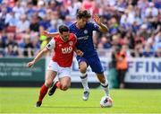 13 July 2019; Marcos Alonso of Chelsea FC in action against Eric Molloy of St Patrick's Athletic during the club friendly match between St Patrick's Athletic and Chelsea FC at Richmond Park in Dublin. Photo by Matt Browne/Sportsfile