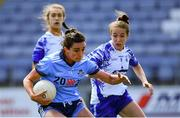 13 July 2019; Niamh McEvoy of Dublin in action against Róisín Tobin of Waterford during the TG4 All-Ireland Ladies Football Senior Championship Group 2 Round 1 match between Dublin and Waterford at O'Moore Park in Portlaoise, Laois. Photo by Piaras Ó Mídheach/Sportsfile