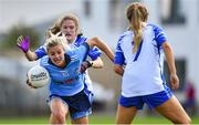 13 July 2019; Nicole Owens of Dublin in action against Katie Murray, behind, and Aisling Mullaney of Waterford during the TG4 All-Ireland Ladies Football Senior Championship Group 2 Round 1 match between Dublin and Waterford at O'Moore Park in Portlaoise, Laois. Photo by Piaras Ó Mídheach/Sportsfile