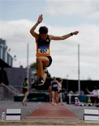13 July 2019; Grainne O'Sullivan of Bray Runners A.C. Co. Wicklow competing in the Long Jump during day two of the Irish Life Health National Juvenile Outdoor Championships at Tullamore Harriers Stadium in Tullamore, Co. Offaly.   Photo by Eóin Noonan/Sportsfile