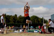 13 July 2019; James Sage of Nenagh Olympic A.C. Co. Tipperary competing in the Long Jump during day two of the Irish Life Health National Juvenile Outdoor Championships at Tullamore Harriers Stadium in Tullamore, Co. Offaly.   Photo by Eóin Noonan/Sportsfile