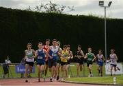13 July 2019; Athletes competing in the boys u18 3000m during day two of the Irish Life Health National Juvenile Outdoor Championships at Tullamore Harriers Stadium in Tullamore, Co. Offaly.   Photo by Eóin Noonan/Sportsfile