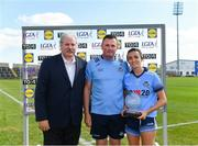 13 July 2019; Niamh McEvoy of Dublin receives the Player of the Match award from Dominic Leech, President, Leinster LGFA, alongside Dublin manager Mick Bohan after the TG4 All-Ireland Ladies Football Senior Championship Group 2 Round 1 match between Dublin and Waterford at O'Moore Park in Portlaoise, Laois. Photo by Piaras Ó Mídheach/Sportsfile