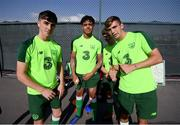 13 July 2019; Republic of Ireland players, from left, Barry Coffey, Andrew Omobamidele, Niall Morahan and Oisin McEntee ahead of a training session prior to the start of the 2019 UEFA European U19 Championships at the FFA Technical Centre in Yerevan, Armenia. Photo by Stephen McCarthy/Sportsfile