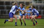 13 July 2019; Éabha Rutledge of Dublin in action against Maria Delahunty, left, and Aileen Wall of Waterford during the TG4 All-Ireland Ladies Football Senior Championship Group 2 Round 1 match between Dublin and Waterford at O'Moore Park in Portlaoise, Laois. Photo by Piaras Ó Mídheach/Sportsfile