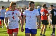 13 July 2019; Peter Harte of Tyrone, left, and Donie Smith of Roscommon leave the pitch after the GAA Football All-Ireland Senior Championship Quarter-Final Group 2 Phase 1 match between Roscommon and Tyrone at Dr Hyde Park in Roscommon. Photo by Brendan Moran/Sportsfile