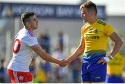 13 July 2019; Connor McAliskey of Tyrone and Enda Smith of Roscommon shake hands after the GAA Football All-Ireland Senior Championship Quarter-Final Group 2 Phase 1 match between Roscommon and Tyrone at Dr Hyde Park in Roscommon. Photo by Brendan Moran/Sportsfile