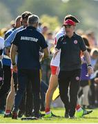 13 July 2019; Tyrone manager Mickey Harte, right, with Roscommon manager Anthony Cunningham at the final whistle of the GAA Football All-Ireland Senior Championship Quarter-Final Group 2 Phase 1 match between Roscommon and Tyrone at Dr Hyde Park in Roscommon. Photo by Brendan Moran/Sportsfile