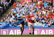 13 July 2019; Brian Hurley of Cork is tackled by Michael Fitzsimons of Dublin during the GAA Football All-Ireland Senior Championship Quarter-Final Group 2 Phase 1 match between Dublin and Cork at Croke Park in Dublin. Photo by Eóin Noonan/Sportsfile