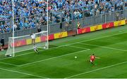 13 July 2019; Luke Connolly of Cork scores his side's first goal from a penalty during the GAA Football All-Ireland Senior Championship Quarter-Final Group 2 Phase 1 match between Dublin and Cork at Croke Park in Dublin. Photo by Daire Brennan/Sportsfile