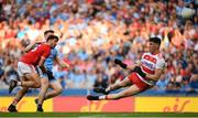 13 July 2019; Mark White of Cork saves a shot on goal by John Small of Dublin during the GAA Football All-Ireland Senior Championship Quarter-Final Group 2 Phase 1 match between Dublin and Cork at Croke Park in Dublin. Photo by Eóin Noonan/Sportsfile
