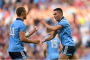 13 July 2019; Niall Scully of Dublin celebrates with team-mate Paul Mannion after scoring his side's third goal of the game during the GAA Football All-Ireland Senior Championship Quarter-Final Group 2 Phase 1 match between Dublin and Cork at Croke Park in Dublin. Photo by Eóin Noonan/Sportsfile