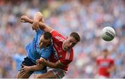 13 July 2019; Con O'Callaghan of Dublin is tackled by Kevin Flahive of Cork during the GAA Football All-Ireland Senior Championship Quarter-Final Group 2 Phase 1 match between Dublin and Cork at Croke Park in Dublin. Photo by Eóin Noonan/Sportsfile
