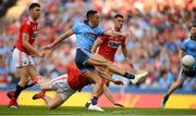 13 July 2019; Niall Scully of Dublin scores his side's third goal of the game despite the efforts of Kevin O'Donovan of Cork during the GAA Football All-Ireland Senior Championship Quarter-Final Group 2 Phase 1 match between Dublin and Cork at Croke Park in Dublin. Photo by Eóin Noonan/Sportsfile