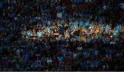 13 July 2019; Dublin supporters in the Cusack Stand celebrate their side's third goal during the GAA Football All-Ireland Senior Championship Quarter-Final Group 2 Phase 1 match between Dublin and Cork at Croke Park in Dublin. Photo by Daire Brennan/Sportsfile