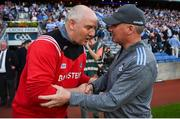 13 July 2019; Dublin manager Jim Gavin shakes hands with Cork manager Ronan McCarthy following the GAA Football All-Ireland Senior Championship Quarter-Final Group 2 Phase 1 match between Dublin and Cork at Croke Park in Dublin. Photo by Eóin Noonan/Sportsfile