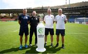 14 July 2019; Group B head coaches, from left, Gunnar Halle of Norway, Tom Mohan of Republic of Ireland, Jan Suchopárek of Czech Republic and Lionel Rouxel of France following a press conference at the Republican Stadium ahead of their side's opening games of the 2019 UEFA European U19 Championship Finals in Yerevan, Armenia. Photo by Stephen McCarthy/Sportsfile