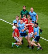 13 July 2019; Dublin players, left to right, Brian Fenton, Con O'Callaghan, Ciarán Kilkenny, and Michael Darragh Macauley in action against Cork players, left to right, Kevin O'Driscoll, Ian Maguire, and Kevin Flahive during the GAA Football All-Ireland Senior Championship Quarter-Final Group 2 Phase 1 match between Dublin and Cork at Croke Park in Dublin. Photo by Daire Brennan/Sportsfile
