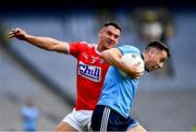 13 July 2019; Cormac Costello of Dublin in action against Thomas Clancy of Cork during the GAA Football All-Ireland Senior Championship Quarter-Final Group 2 Phase 1 match between Dublin and Cork at Croke Park in Dublin. Photo by Ray McManus/Sportsfile