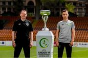 14 July 2019; Republic of Ireland head coach Tom Mohan and captain Lee O'Connor pose for a photograph with the trophy prior to a press conference at the Republican Stadium ahead of their side's opening game of the 2019 UEFA European U19 Championship Finals in Yerevan, Armenia. Photo by Stephen McCarthy/Sportsfile