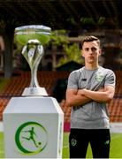 14 July 2019; Republic of Ireland captain Lee O'Connor poses for a portrait at the Republican Stadium following a press conference ahead of his side's opening game of the 2019 UEFA European U19 Championship Finals in Yerevan, Armenia. Photo by Stephen McCarthy/Sportsfile