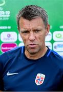 14 July 2019; Norway head coach Gunnar Halle during a press conference at the Republican Stadium ahead of his side's opening game of the 2019 UEFA European U19 Championship Finals in Yerevan, Armenia. Photo by Stephen McCarthy/Sportsfile