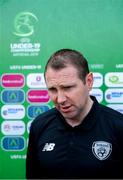 14 July 2019; Republic of Ireland head coach Tom Mohan during a press conference at the Republican Stadium ahead of his side's opening game of the 2019 UEFA European U19 Championship Finals in Yerevan, Armenia. Photo by Stephen McCarthy/Sportsfile