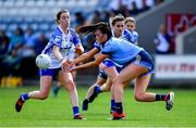 13 July 2019; Niamh Hetherton of Dublin in action against Karen McGrath of Waterford during the TG4 All-Ireland Ladies Football Senior Championship Group 2 Round 1 match between Dublin and Waterford at O'Moore Park in Portlaoise, Laois. Photo by Piaras Ó Mídheach/Sportsfile