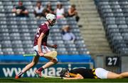 14 July 2019; Greg Thomas of Galway celebrates after scoring his side's first goal of the game during the Electric Ireland GAA Hurling All-Ireland Minor Championship quarter-final match between Kilkenny and Galway at Croke Park in Dublin. Photo by Ramsey Cardy/Sportsfile