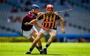 14 July 2019; Colman O'Sullivan of Kilkenny  in action against Éanna Davoren of Galway  during the Electric Ireland GAA Hurling All-Ireland Minor Championship quarter-final match between Kilkenny and Galway at Croke Park in Dublin. Photo by Ray McManus/Sportsfile