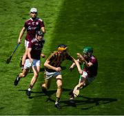 14 July 2019; Billy Reid of Kilkenny in action against Galway players, from left, Sean McDonagh, Ian McGlynn and Colm Cunningham during the Electric Ireland GAA Hurling All-Ireland Minor Championship quarter-final match between Kilkenny and Galway at Croke Park in Dublin. Photo by Ramsey Cardy/Sportsfile