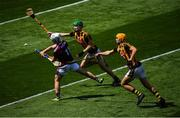 14 July 2019; Sean McDonagh of Galway in action against Peter McDonald, left, and William Halpin of Kilkenny during the Electric Ireland GAA Hurling All-Ireland Minor Championship quarter-final match between Kilkenny and Galway at Croke Park in Dublin. Photo by Ramsey Cardy/Sportsfile