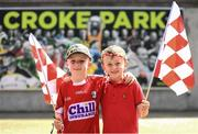 14 July 2019; Cork supporters Conall Cody, left, and Kian Davis, from Midleton, ahead of the GAA Hurling All-Ireland Senior Championship quarter-final match between Kilkenny and Cork at Croke Park in Dublin. Photo by Ramsey Cardy/Sportsfile