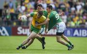 14 July 2019; Hugh McFadden of Donegal in action against Shane McEntee of Meath during the GAA Football All-Ireland Senior Championship Quarter-Final Group 1 Phase 1 match between Donegal and Meath at MacCumhaill Park in Ballybofey, Donegal. Photo by Daire Brennan/Sportsfile