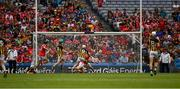 14 July 2019; Patrick Horgan of Cork, under pressure from Conor Fogarty of Kilkenny, scores his side's second goal, in the 28th minute, during in action during the GAA Hurling All-Ireland Senior Championship quarter-final match between Kilkenny and Cork at Croke Park in Dublin. Photo by Ray McManus/Sportsfile
