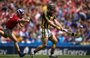 14 July 2019; Richie Hogan of Kilkenny shoots to score his side's second goal of the game despite the attention of Sean O'Donoghue of Cork during the GAA Hurling All-Ireland Senior Championship quarter-final match between Kilkenny and Cork at Croke Park in Dublin. Photo by Ramsey Cardy/Sportsfile